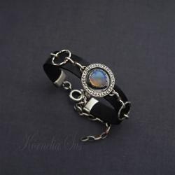 bransoletka,rzemień,srebrna,z opalem - Bransoletki - Biżuteria
