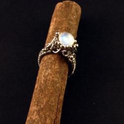 srebrny pierścionek z kamieniem księżycowym - Pierścionki - Biżuteria