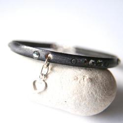 bransoletka skórzana,bransoletka z sercem - Bransoletki - Biżuteria