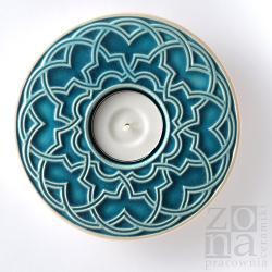lampion,świecznik,ceramika,ornament,turkus - Ceramika i szkło - Wyposażenie wnętrz