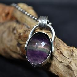 wisior z duzym kamieniem,wisior z fluorytem - Wisiory - Biżuteria