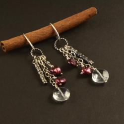 srebrne kolczyki z kwarcem i perłami - Kolczyki - Biżuteria