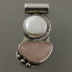 wisior z perłą i kwarcem różowym - Wisiory - Biżuteria