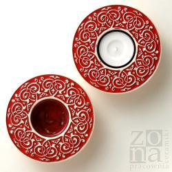 ceramiczne lampiony,świeczniki,czerwone - Świeczniki - Wyposażenie wnętrz