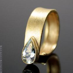 asymetryczny,złocony,akwamaryn,oryginalny - Pierścionki - Biżuteria
