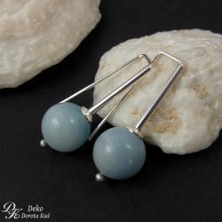 kolczyki,amazonit,niebieski,srebro,minimalizm - Kolczyki - Biżuteria