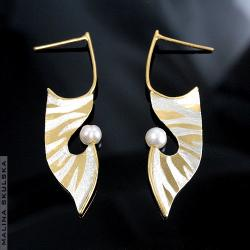 kolczyki,zebra,perły,złocone,oryginalne - Kolczyki - Biżuteria
