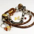 Bransoletki bransoleta,komplet,biżuteria z bursztynu,skóra