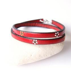 bransoletka skórzana,bransoletka czerwona - Bransoletki - Biżuteria