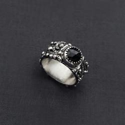 pierścionek,srebrny,obrączka,ze spinelem - Pierścionki - Biżuteria