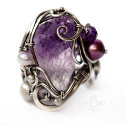 wire-wrapping,srebrny,pierścionek,fioletowy - Pierścionki - Biżuteria