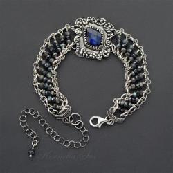 bransoletka,srebrna,z szafirem,misterna - Bransoletki - Biżuteria