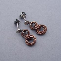miedź,chainmaille,oksydowane,lekkie - Kolczyki - Biżuteria