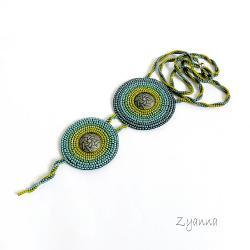 naszyjnik,zielono-niebieski,lato - Naszyjniki - Biżuteria