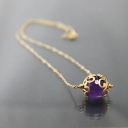 finezyjny naszyjnik,pozłacany,fiołkowy - Naszyjniki - Biżuteria