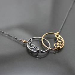 delikatne kółeczka,srebro pozłacane - Naszyjniki - Biżuteria