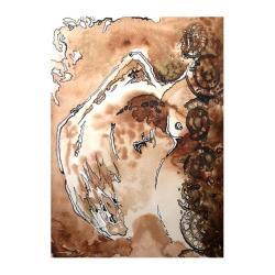 anioł,skrzydło,brązowy,do wnętrza,prezent,grafika, - Ilustracje, rysunki, fotografia - Wyposażenie wnętrz