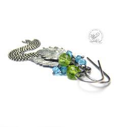 długie,lekkie,delikatne,srebrne,oksydowane,Kwarc - Kolczyki - Biżuteria