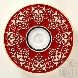 lampion,świecznik,ceramiczny,ornament,czerwony - Ceramika i szkło - Wyposażenie wnętrz