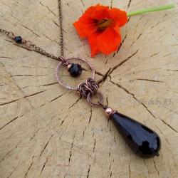 miedź,chainmaille,naszyjnik,okazały,onyks,czarny - Naszyjniki - Biżuteria