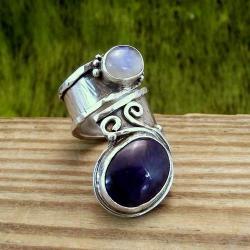 pierścionek z szafirem i kamieniem księżycowym - Pierścionki - Biżuteria