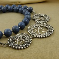 naszyjnik,wrapping,niebieski,korale,misterny,koral - Naszyjniki - Biżuteria