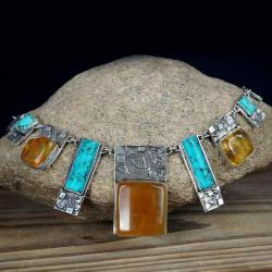 kolia z bursztynami i turkusami - Naszyjniki - Biżuteria