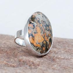 pierścionek z jaspisem,srebrny,klasyczny,duży, - Pierścionki - Biżuteria