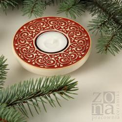 lampion,świecznik,ceramika,czerwony,prezent - Ceramika i szkło - Wyposażenie wnętrz