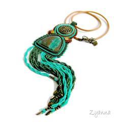 wisior,haft koralikowy,turkusowy,chryzokola - Wisiory - Biżuteria