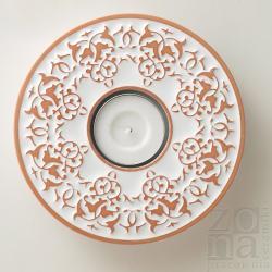 lampion,świecznik,ceramika,ornament,biały - Ceramika i szkło - Wyposażenie wnętrz