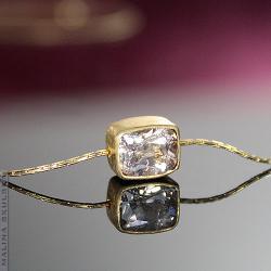 naszyjnik,złocony,morganit,delikatny,srebrny - Naszyjniki - Biżuteria