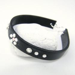 czarna bransoletka,szeroka - Bransoletki - Biżuteria