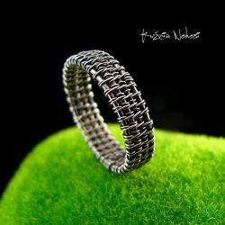 Nehesi,Pierścień,Ze Srebra,obączka,wire wrapping - Pierścionki - Biżuteria