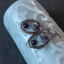 oksydowana miedź,ametystowe kulki - Kolczyki - Biżuteria