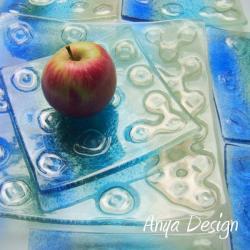 komplet,szkło,fusing,talerzyki,na ciasto - Ceramika i szkło - Wyposażenie wnętrz