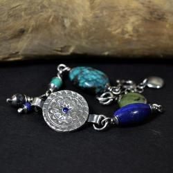 bransoleta letnia,z turkusem,z lapis lazuli - Bransoletki - Biżuteria