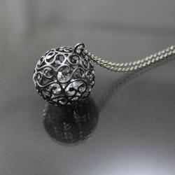 srebrna kula, - Wisiory - Biżuteria