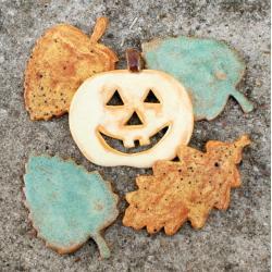 liście,dynia,halloween,las,jesień - Ceramika i szkło - Wyposażenie wnętrz