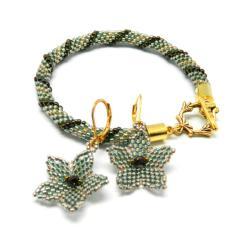 delikatne,kwiaty,paski,spirala,morski,złoto,brąz - Komplety - Biżuteria
