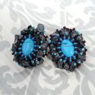 Kolczyki haft koralikowy,tuskur,keshi,perły,sztyfty,srebrne