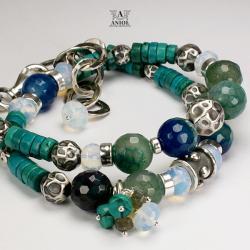 bransoleta,srebro,agat,turkus - Bransoletki - Biżuteria