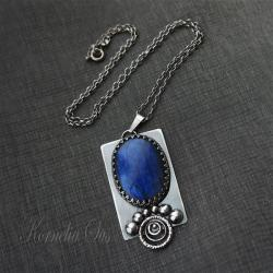 wisior,srebrny,z labradorytem,okazały - Wisiory - Biżuteria