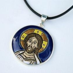 wisior,ikona,Chrystus,ceramika - Wisiory - Biżuteria