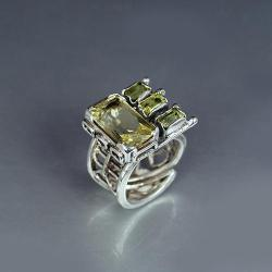 pierścionek z cytrynem i oliwinami - Pierścionki - Biżuteria