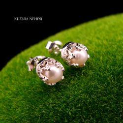 Nehesi,Kolczyki z Perłami,Ze Srebra,wkręty - Kolczyki - Biżuteria