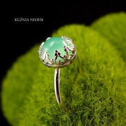 Nehesi,Pierścień,z chryzoprazem,ze srebra, - Pierścionki - Biżuteria
