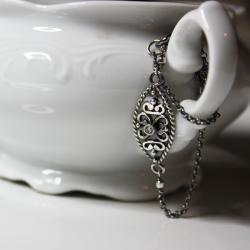 srebro oksydowane,delikatna bransoletka, - Bransoletki - Biżuteria