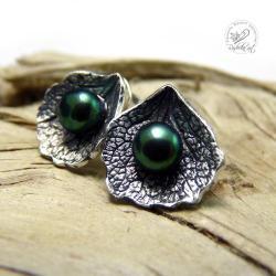sztyfty,srebrne,oksydowane,perłowe - Kolczyki - Biżuteria