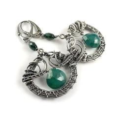 kolczyki,wire-wrapping,zielone,szmaragd,misterne - Kolczyki - Biżuteria